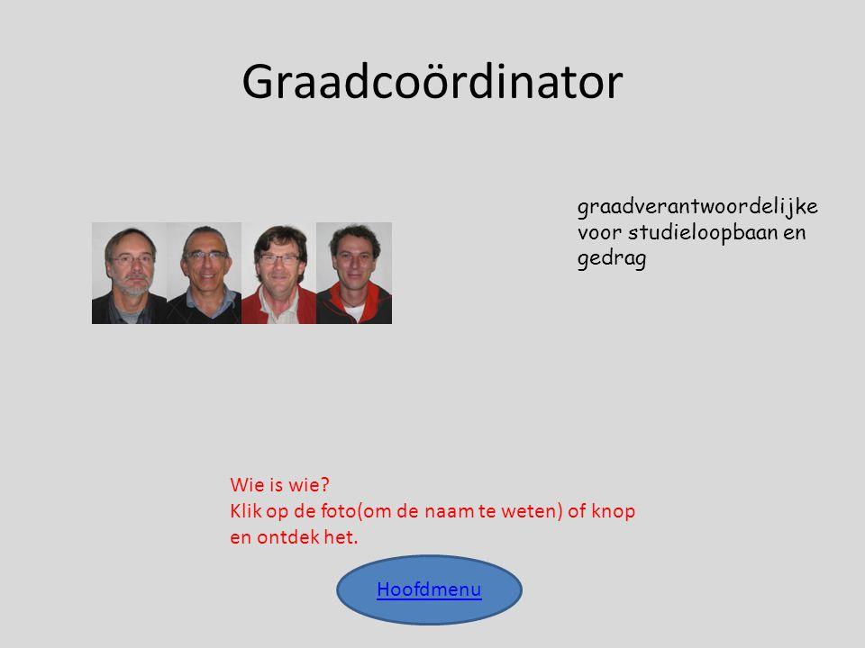 Graadcoördinator Hoofdmenu graadverantwoordelijke voor studieloopbaan en gedrag Wie is wie? Klik op de foto(om de naam te weten) of knop en ontdek het