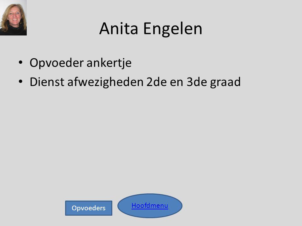 Anita Engelen • Opvoeder ankertje • Dienst afwezigheden 2de en 3de graad Hoofdmenu Opvoeders