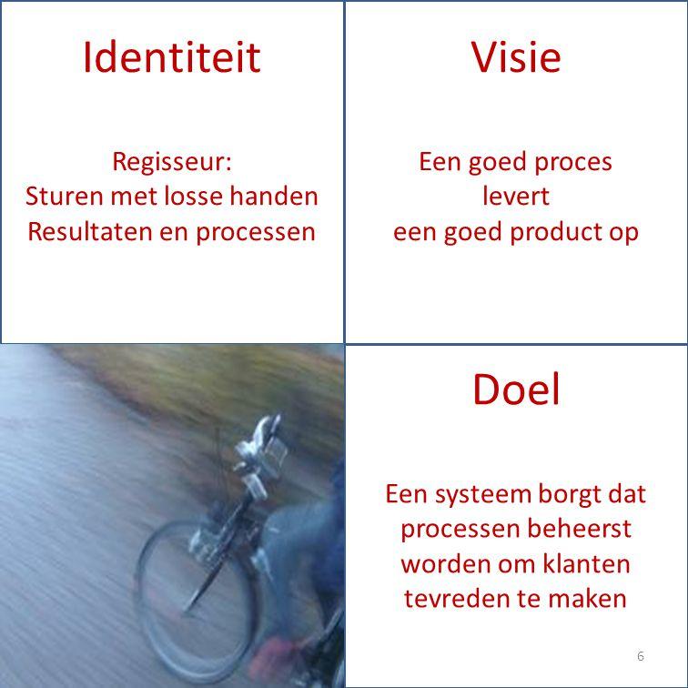 Identiteit Regisseur: Sturen met losse handen Resultaten en processen Doel Een systeem borgt dat processen beheerst worden om klanten tevreden te maken Visie Een goed proces levert een goed product op 6