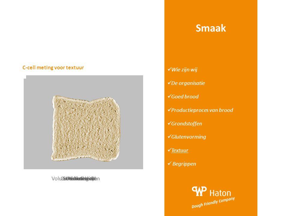 Smaak  Wie zijn wij  De organisatie  Goed brood  Productieproces van brood  Grondstoffen  Glutenvorming  Textuur  Begrippen C-cell meting voor