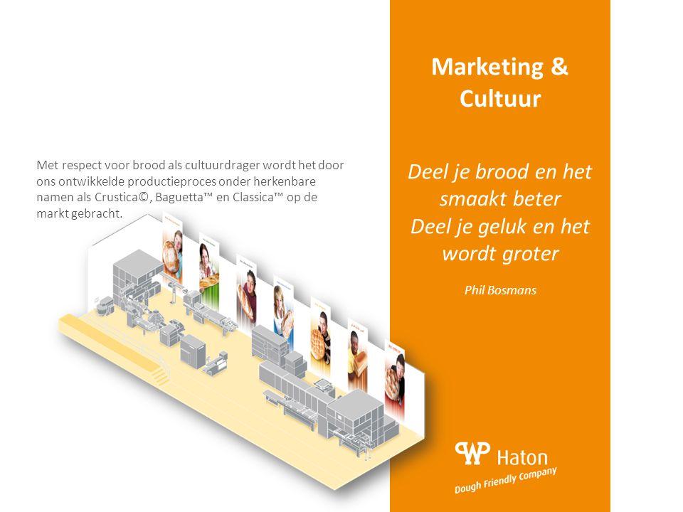 Marketing & Cultuur Deel je brood en het smaakt beter Deel je geluk en het wordt groter Phil Bosmans Met respect voor brood als cultuurdrager wordt he