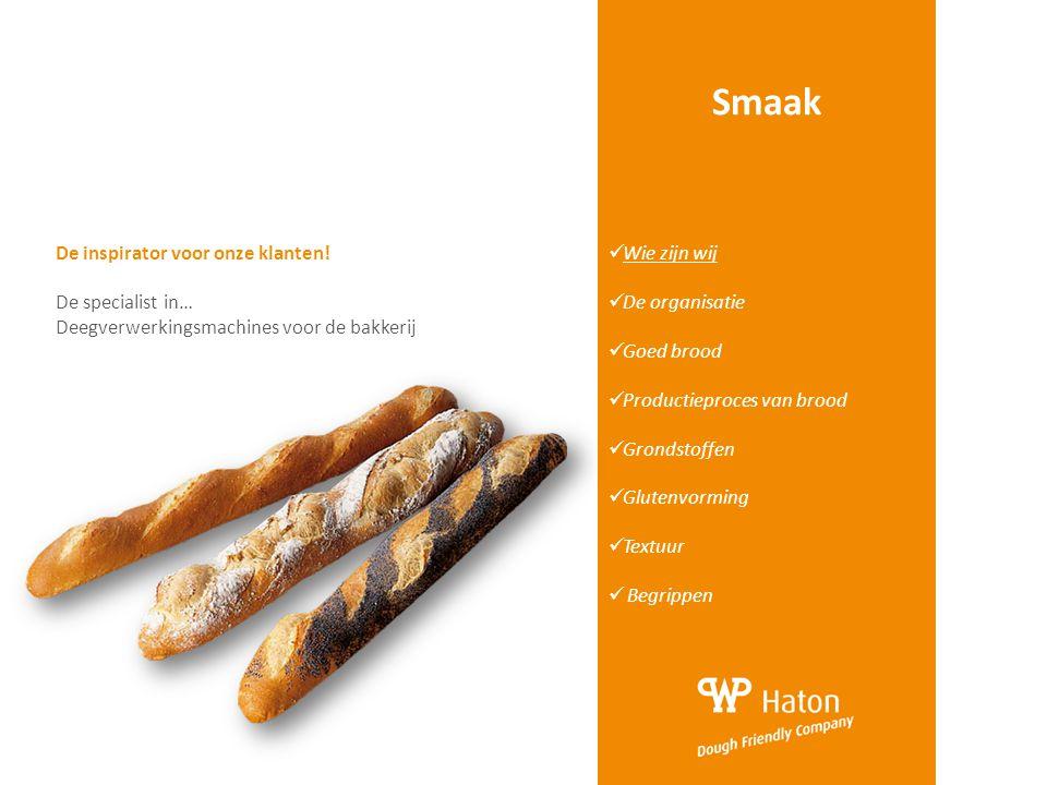 Smaak  Wie zijn wij  De organisatie  Goed brood  Productieproces van brood  Grondstoffen  Glutenvorming  Textuur  Begrippen De inspirator voor
