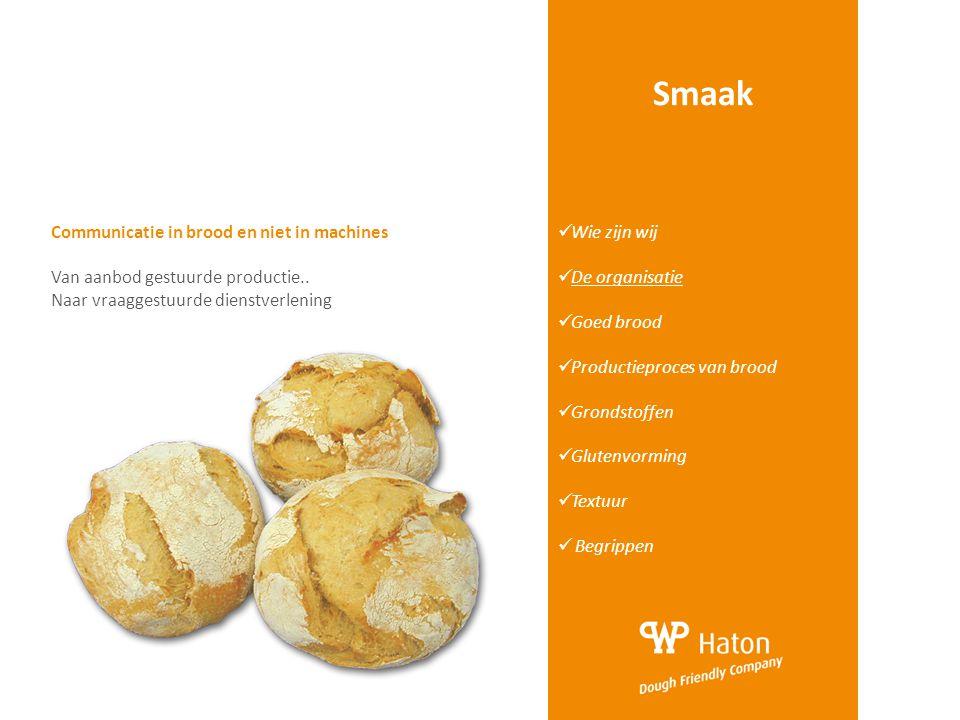 Smaak  Wie zijn wij  De organisatie  Goed brood  Productieproces van brood  Grondstoffen  Glutenvorming  Textuur  Begrippen Communicatie in br