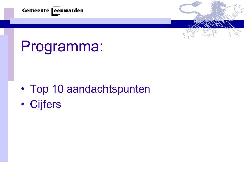 Programma: •Top 10 aandachtspunten •Cijfers