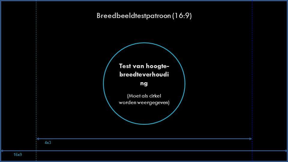 Breedbeeldtestpatroon (16:9) Test van hoogte- breedteverhoudi ng (Moet als cirkel worden weergegeven) 16x9 4x3