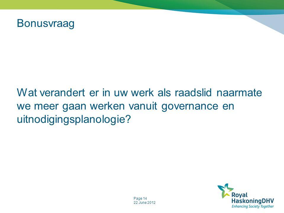 Page 14 22 June 2012 Bonusvraag Wat verandert er in uw werk als raadslid naarmate we meer gaan werken vanuit governance en uitnodigingsplanologie?