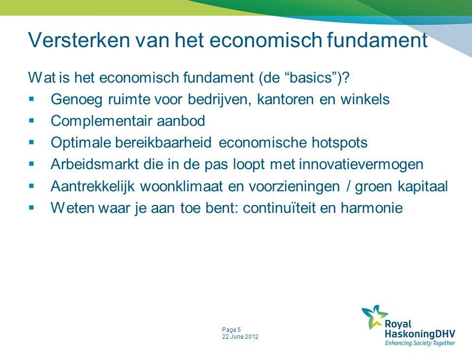 Page 5 22 June 2012 Versterken van het economisch fundament Wat is het economisch fundament (de basics ).