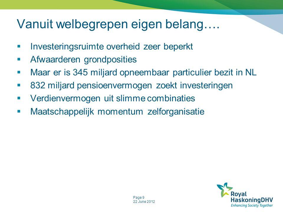 Page 9 22 June 2012 Vanuit welbegrepen eigen belang….