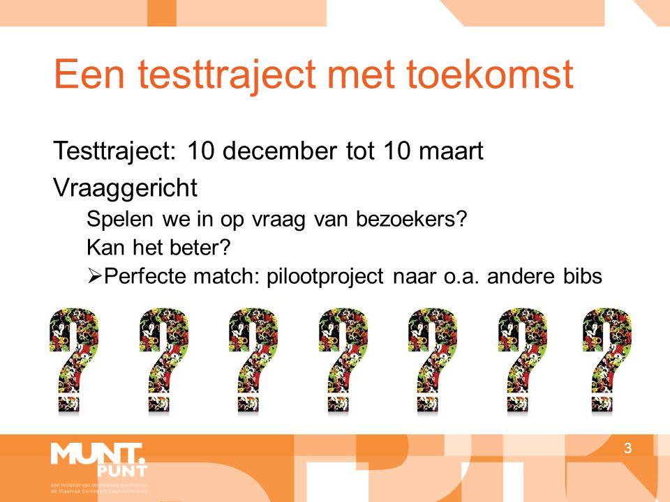 Een testtraject met toekomst Testtraject: 10 december tot 10 maart Vraaggericht Spelen we in op vraag van bezoekers? Kan het beter?  Perfecte match: