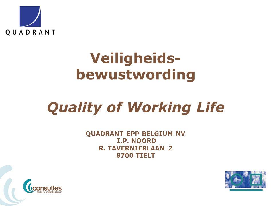 Veiligheids- bewustwording Quality of Working Life QUADRANT EPP BELGIUM NV I.P. NOORD R. TAVERNIERLAAN 2 8700 TIELT