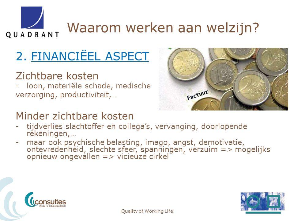 Waarom werken aan welzijn? 2. FINANCIËEL ASPECT Zichtbare kosten -loon, materiële schade, medische verzorging, productiviteit,… Minder zichtbare koste