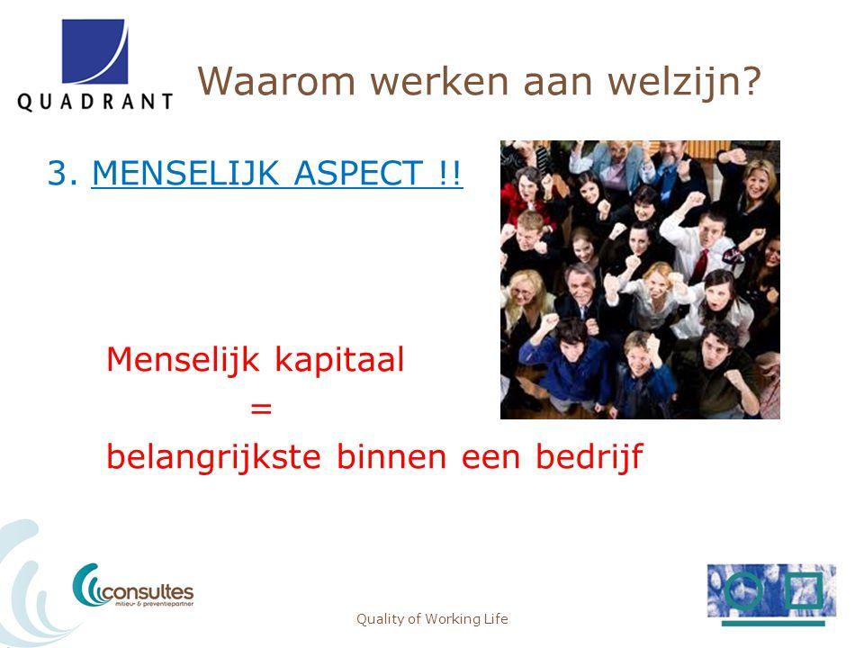 Waarom werken aan welzijn? 3. MENSELIJK ASPECT !! Menselijk kapitaal = belangrijkste binnen een bedrijf Quality of Working Life15