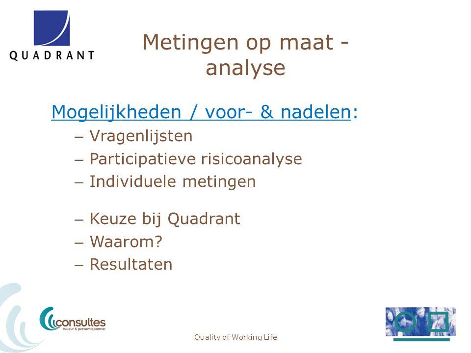 Metingen op maat - analyse Mogelijkheden / voor- & nadelen: – Vragenlijsten – Participatieve risicoanalyse – Individuele metingen – Keuze bij Quadrant
