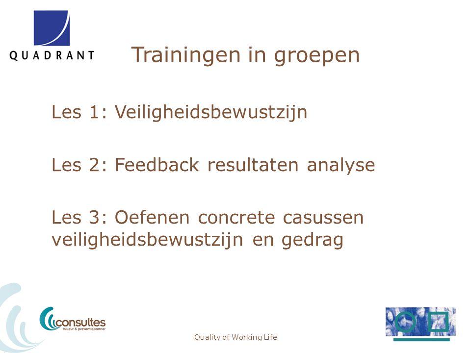 Trainingen in groepen Les 1: Veiligheidsbewustzijn Les 2: Feedback resultaten analyse Les 3: Oefenen concrete casussen veiligheidsbewustzijn en gedrag