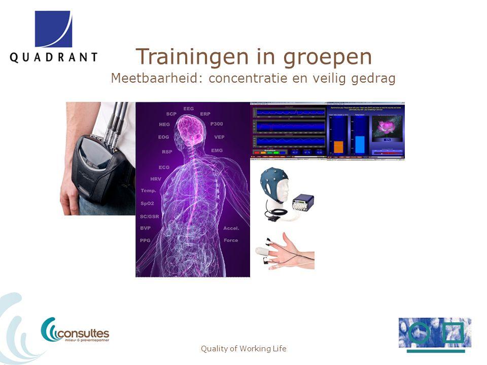 Trainingen in groepen Meetbaarheid: concentratie en veilig gedrag Quality of Working Life