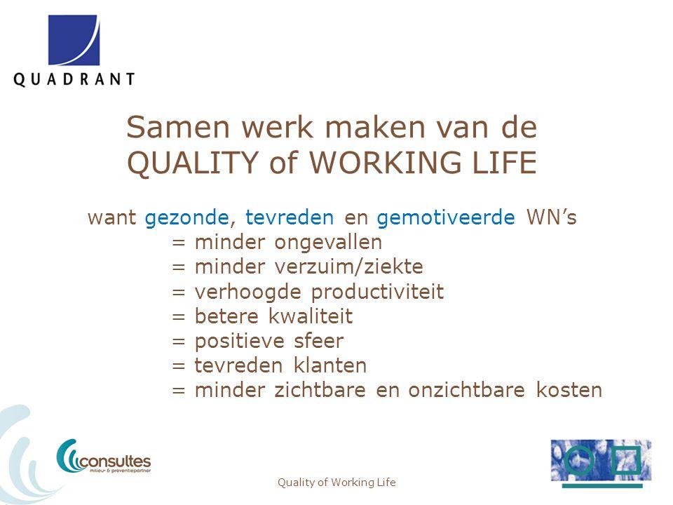Samen werk maken van de QUALITY of WORKING LIFE want gezonde, tevreden en gemotiveerde WN's = minder ongevallen = minder verzuim/ziekte = verhoogde pr