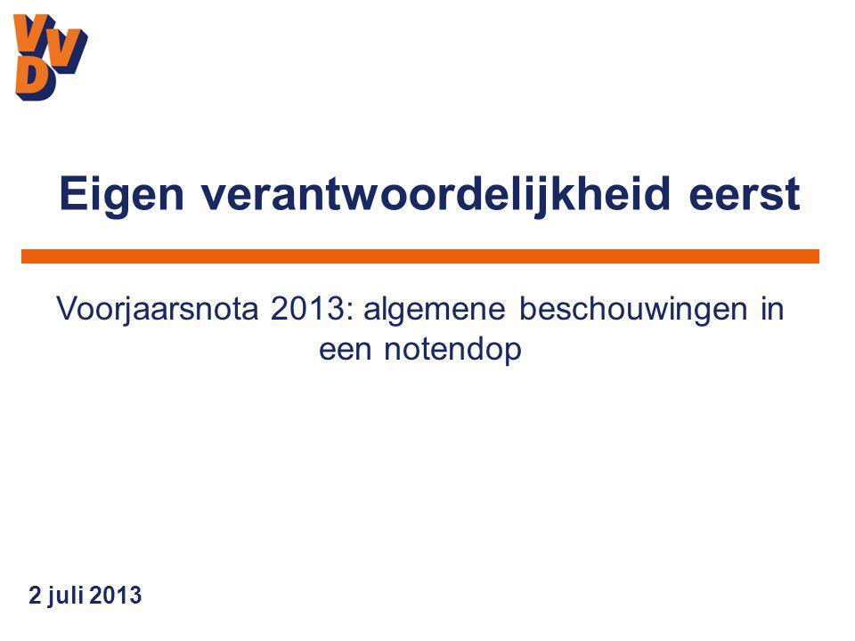 2 juli 2013 Voorjaarsnota 2013: algemene beschouwingen in een notendop Eigen verantwoordelijkheid eerst
