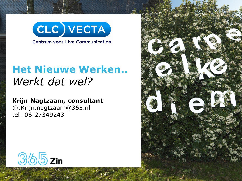 Datum 6 september 2011 Het Nieuwe Werken.. Werkt dat wel? Krijn Nagtzaam, consultant @:Krijn.nagtzaam@365.nl tel: 06-27349243