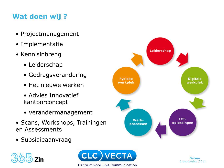 Datum 6 september 2011 Wat doen wij ? • Projectmanagement • Implementatie • Kennisinbreng • Leiderschap • Gedragsverandering • Het nieuwe werken • Adv