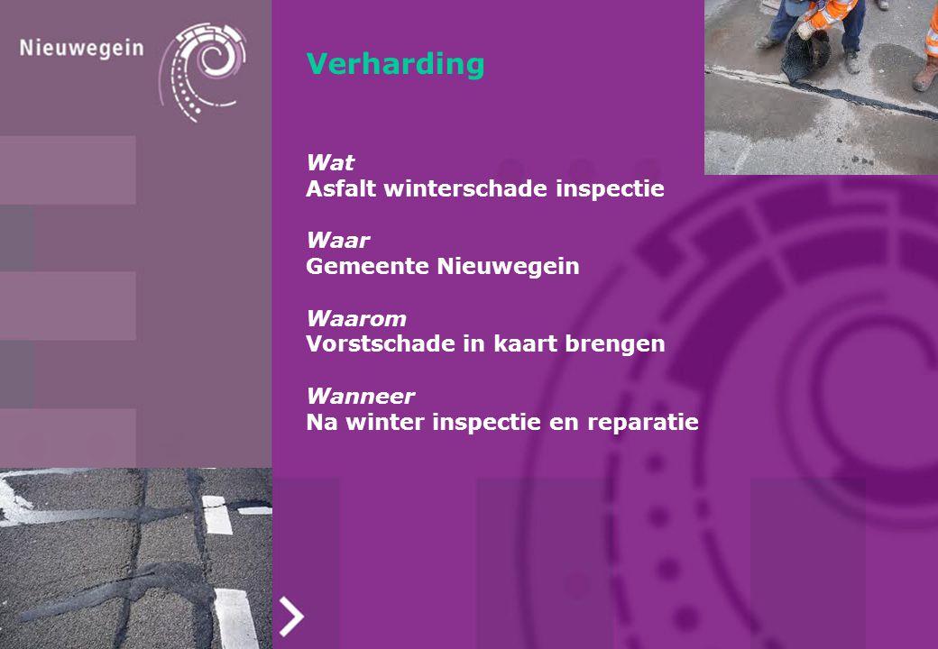 Verharding Wat Asfalt winterschade inspectie Waar Gemeente Nieuwegein Waarom Vorstschade in kaart brengen Wanneer Na winter inspectie en reparatie