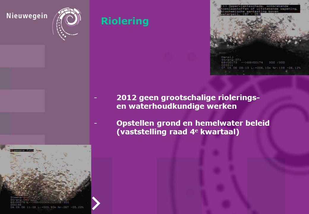 Riolering -2012 geen grootschalige riolerings- en waterhoudkundige werken -Opstellen grond en hemelwater beleid (vaststelling raad 4 e kwartaal)