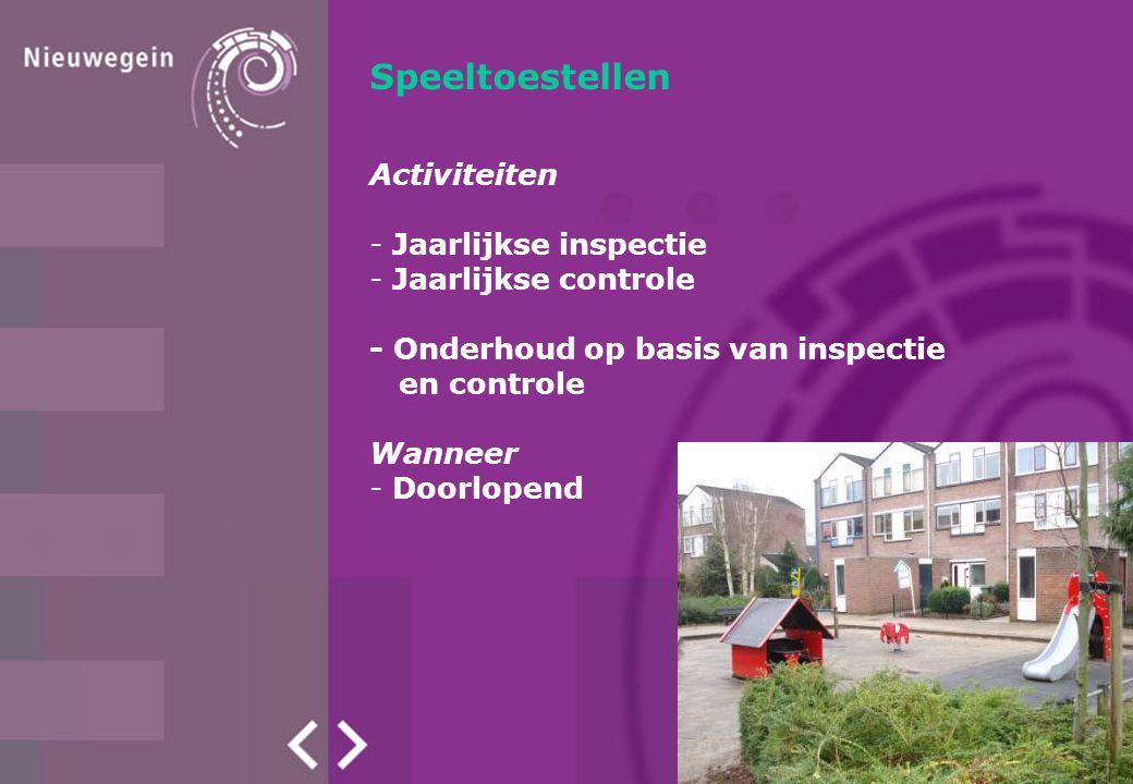 Speeltoestellen Activiteiten - Jaarlijkse inspectie - Jaarlijkse controle - Onderhoud op basis van inspectie en controle Wanneer - Doorlopend