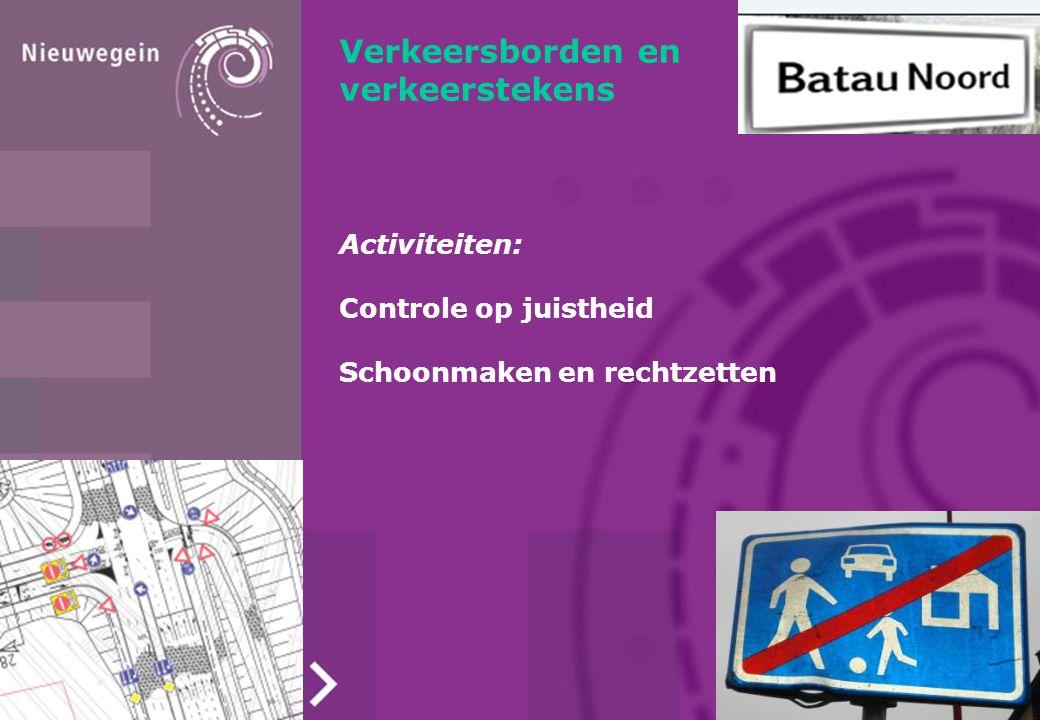 Verkeersborden en verkeerstekens Activiteiten: Controle op juistheid Schoonmaken en rechtzetten