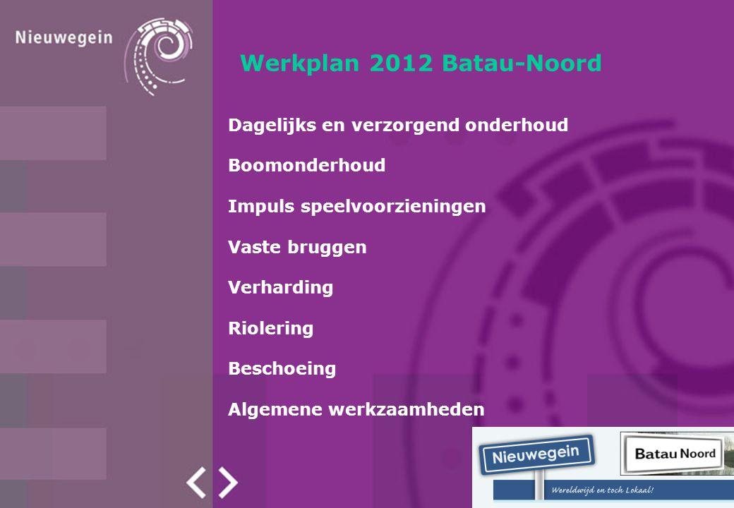 Werkplan 2012 Batau-Noord Dagelijks en verzorgend onderhoud Boomonderhoud Impuls speelvoorzieningen Vaste bruggen Verharding Riolering Beschoeing Alge