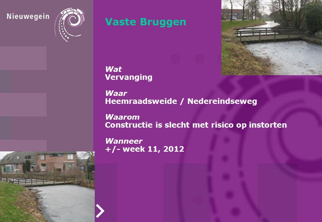 Vaste Bruggen Wat Vervanging Waar Heemraadsweide / Nedereindseweg Waarom Constructie is slecht met risico op instorten Wanneer +/- week 11, 2012
