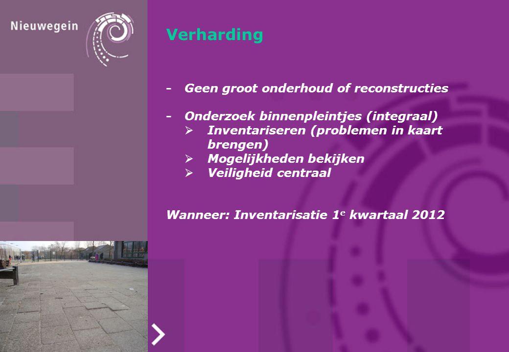 Verharding -Geen groot onderhoud of reconstructies -Onderzoek binnenpleintjes (integraal)  Inventariseren (problemen in kaart brengen)  Mogelijkhede