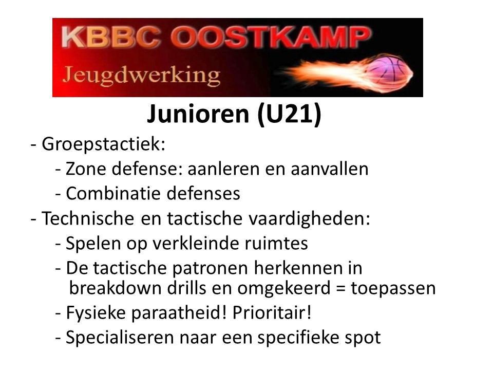 Junioren (U21) - Groepstactiek: - Zone defense: aanleren en aanvallen - Combinatie defenses - Technische en tactische vaardigheden: - Spelen op verkleinde ruimtes - De tactische patronen herkennen in breakdown drills en omgekeerd = toepassen - Fysieke paraatheid.