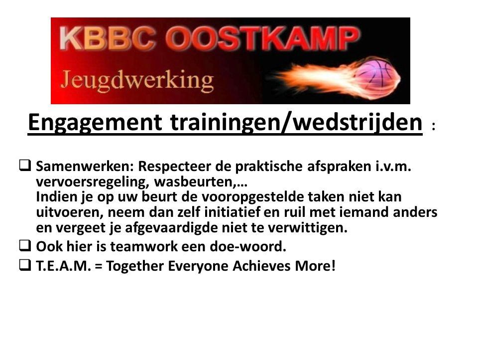 Engagement trainingen/wedstrijden :  Samenwerken: Respecteer de praktische afspraken i.v.m. vervoersregeling, wasbeurten,… Indien je op uw beurt de v
