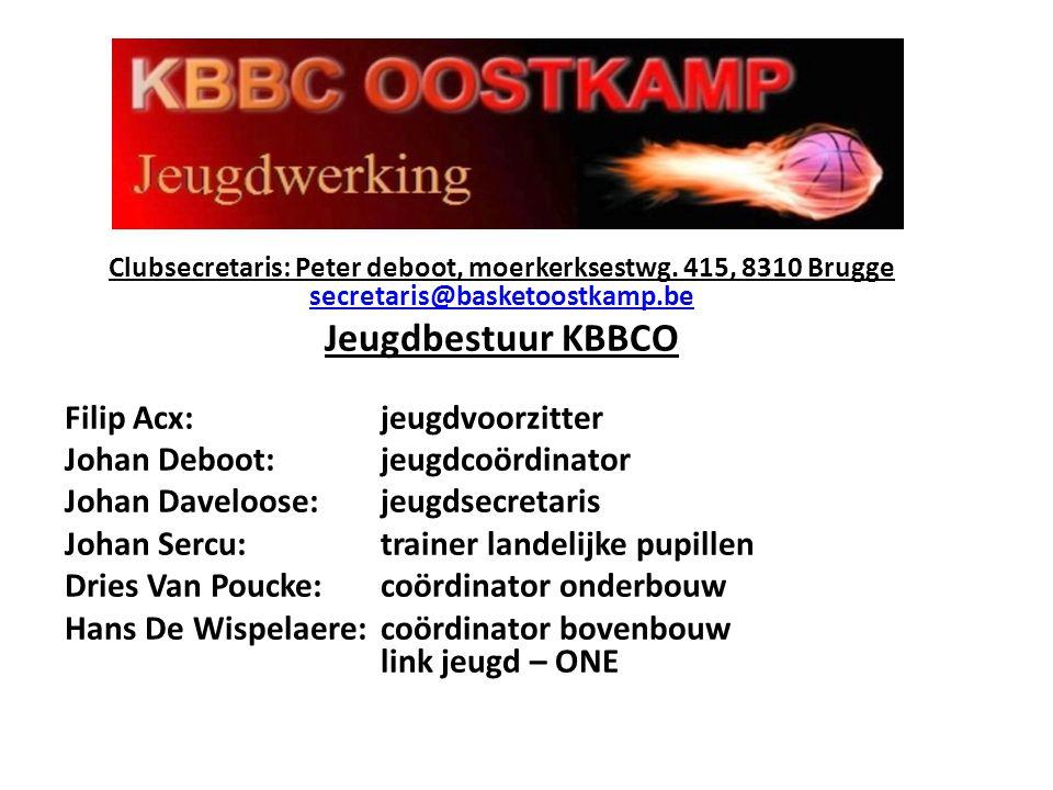 Clubsecretaris: Peter deboot, moerkerksestwg. 415, 8310 Brugge secretaris@basketoostkamp.be secretaris@basketoostkamp.be Jeugdbestuur KBBCO Filip Acx: