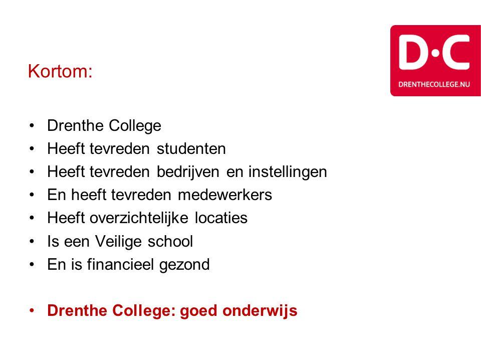 Kortom: •Drenthe College •Heeft tevreden studenten •Heeft tevreden bedrijven en instellingen •En heeft tevreden medewerkers •Heeft overzichtelijke loc
