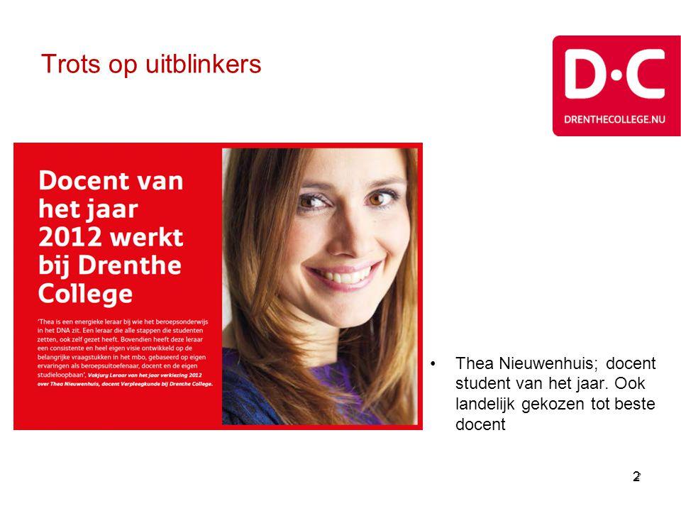 Drenthe College •Middelbaar beroepsonderwijs: niveau 1 t/m 4 •BOL en BBL •In heel Drenthe; hoofdvestigingen Assen, Emmen, Meppel •Opleidingsaanbod verschilt per plaats •Op drie locaties sprinthavo en sprintvwo (Vavo) •Ruim 8.500 mbo-studenten •Ook volwasseneneducatie: ruim 1.500 deelnemers
