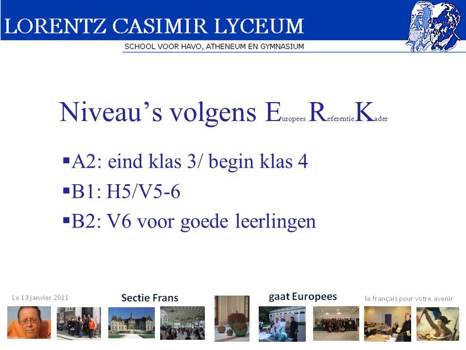 Niveau's volgens E uropees R eferentie K ader  A2: eind klas 3/ begin klas 4  B1: H5/V5-6  B2: V6 voor goede leerlingen