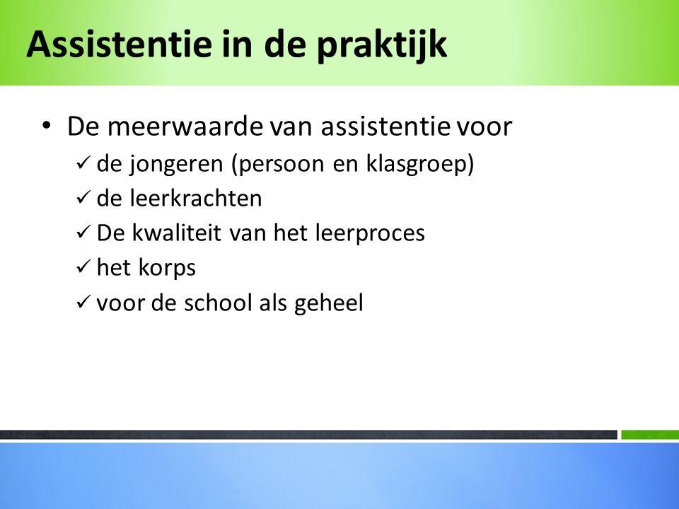 • De meerwaarde van assistentie voor  de jongeren (persoon en klasgroep)  de leerkrachten  De kwaliteit van het leerproces  het korps  voor de school als geheel
