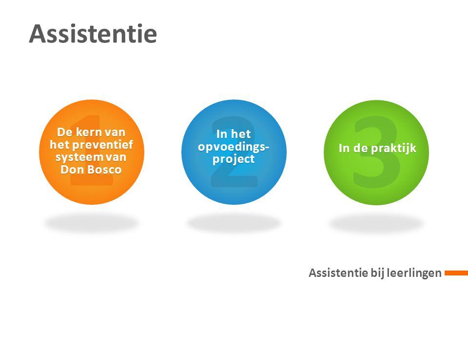 3 In de praktijk Assistentie Assistentie bij leerlingen 1 De kern van het preventief systeem van Don Bosco 2 In het opvoedings- project