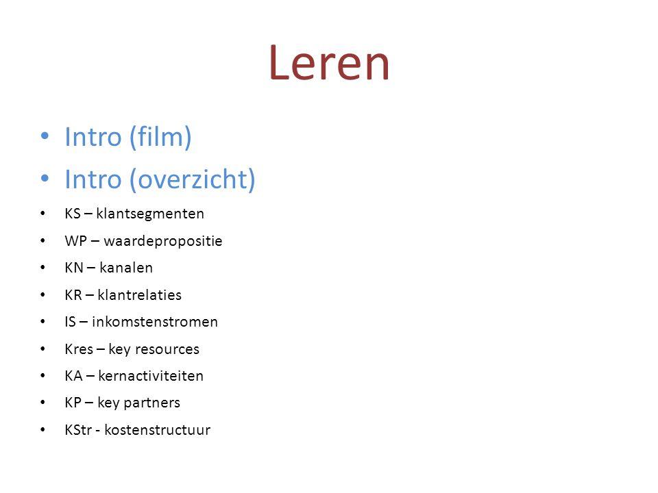 Leren • Intro (film) • Intro (overzicht) • KS – klantsegmenten • WP – waardepropositie • KN – kanalen • KR – klantrelaties • IS – inkomstenstromen • K