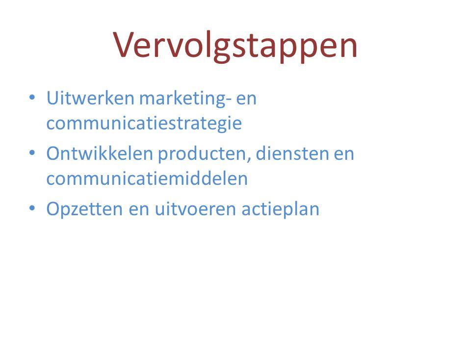 Vervolgstappen • Uitwerken marketing- en communicatiestrategie • Ontwikkelen producten, diensten en communicatiemiddelen • Opzetten en uitvoeren actie