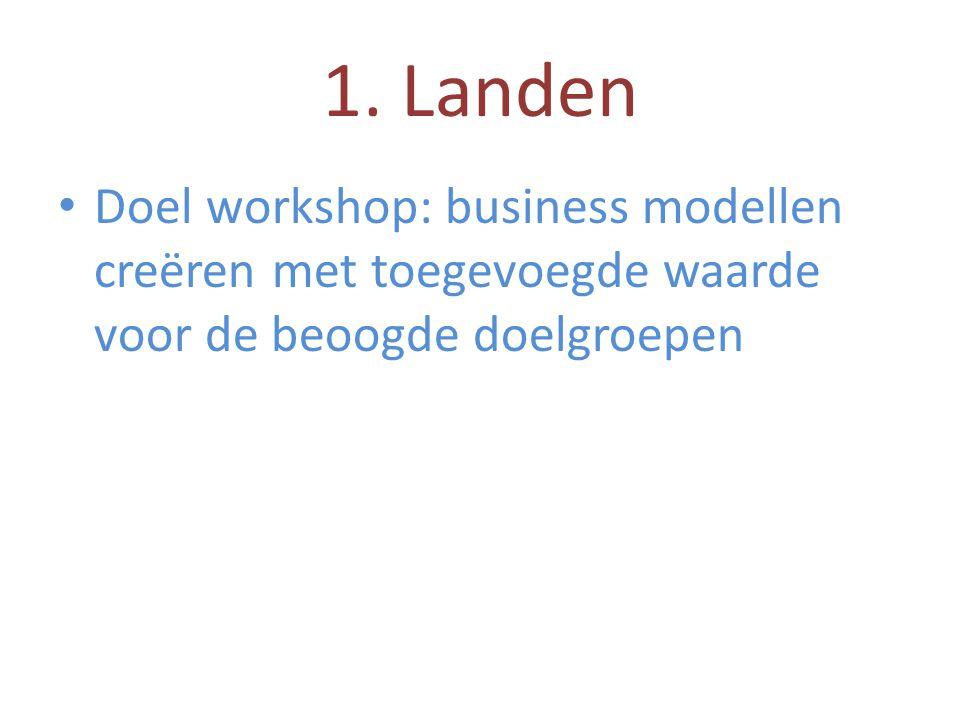 1. Landen • Doel workshop: business modellen creëren met toegevoegde waarde voor de beoogde doelgroepen