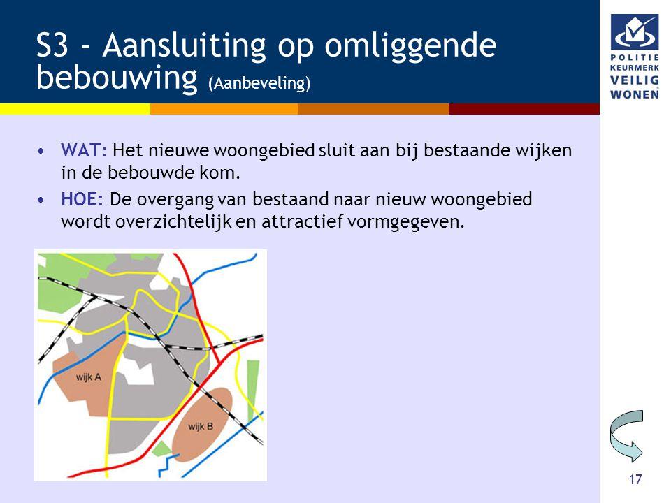 17 S3 - Aansluiting op omliggende bebouwing (Aanbeveling) •WAT: Het nieuwe woongebied sluit aan bij bestaande wijken in de bebouwde kom. •HOE: De over