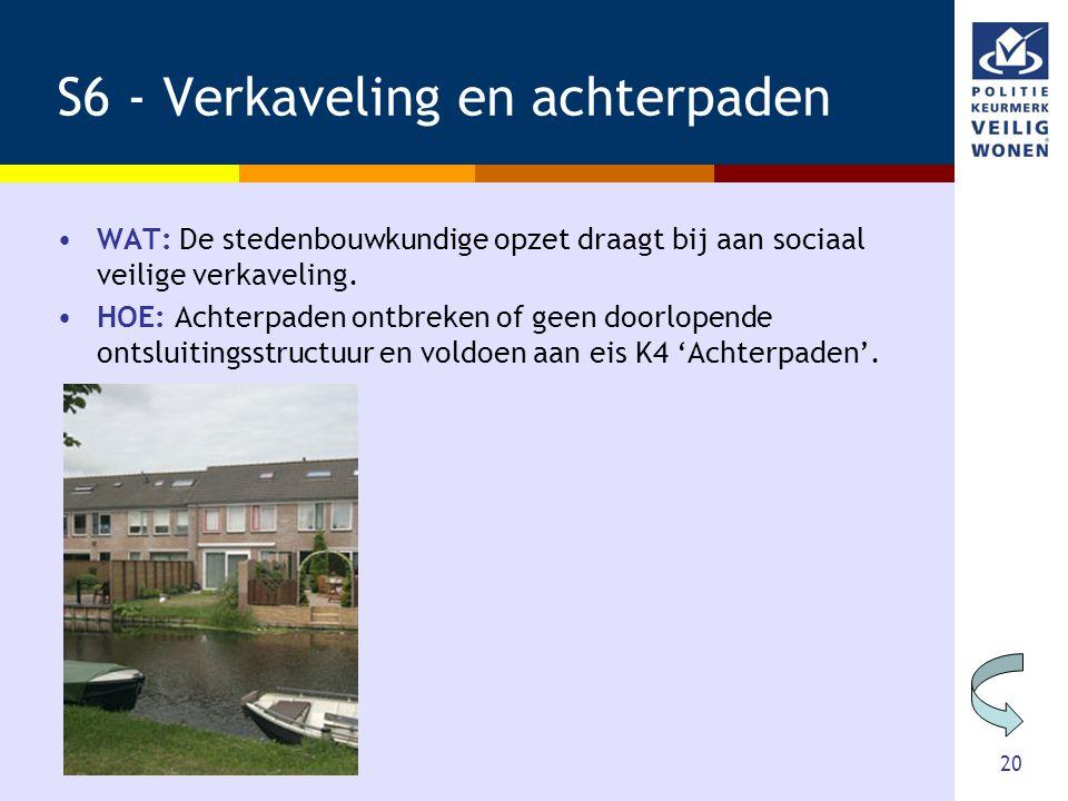 20 S6 - Verkaveling en achterpaden •WAT: De stedenbouwkundige opzet draagt bij aan sociaal veilige verkaveling. •HOE: Achterpaden ontbreken of geen do