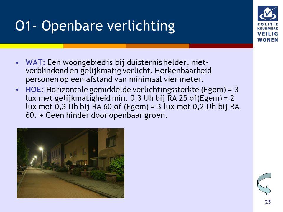 25 O1- Openbare verlichting •WAT: Een woongebied is bij duisternis helder, niet- verblindend en gelijkmatig verlicht. Herkenbaarheid personen op een a
