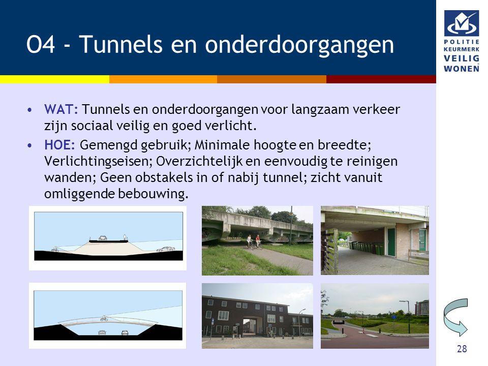 28 O4 - Tunnels en onderdoorgangen •WAT: Tunnels en onderdoorgangen voor langzaam verkeer zijn sociaal veilig en goed verlicht. •HOE: Gemengd gebruik;