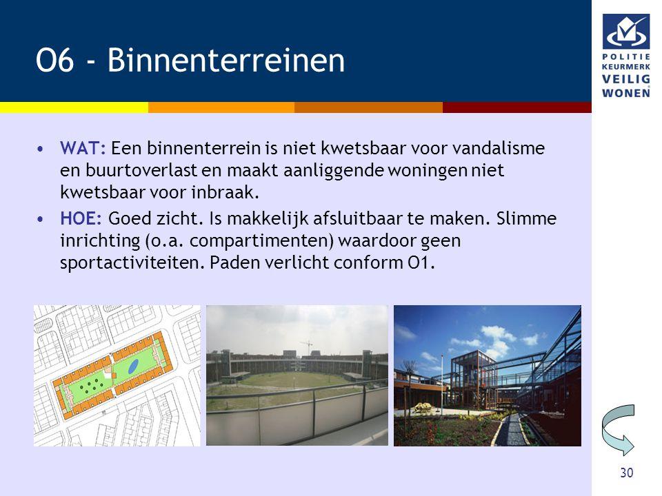 30 O6 - Binnenterreinen •WAT: Een binnenterrein is niet kwetsbaar voor vandalisme en buurtoverlast en maakt aanliggende woningen niet kwetsbaar voor i