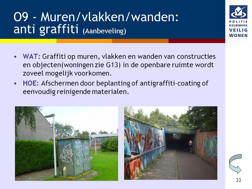33 O9 - Muren/vlakken/wanden: anti graffiti (Aanbeveling) •WAT: Graffiti op muren, vlakken en wanden van constructies en objecten(woningen zie G13) in