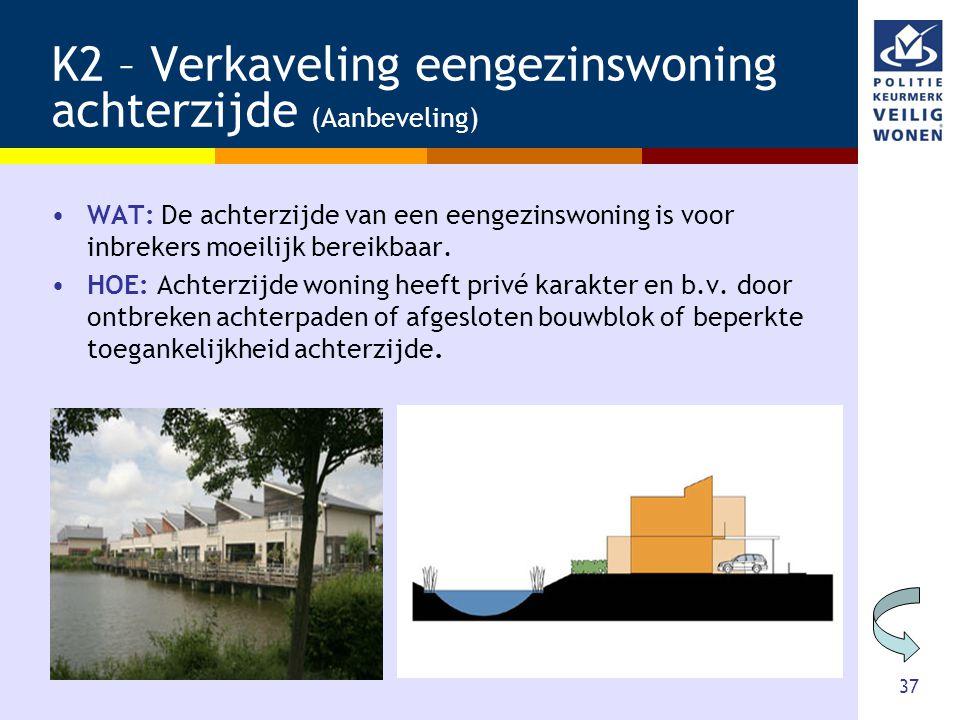 37 K2 – Verkaveling eengezinswoning achterzijde (Aanbeveling) •WAT: De achterzijde van een eengezinswoning is voor inbrekers moeilijk bereikbaar. •HOE