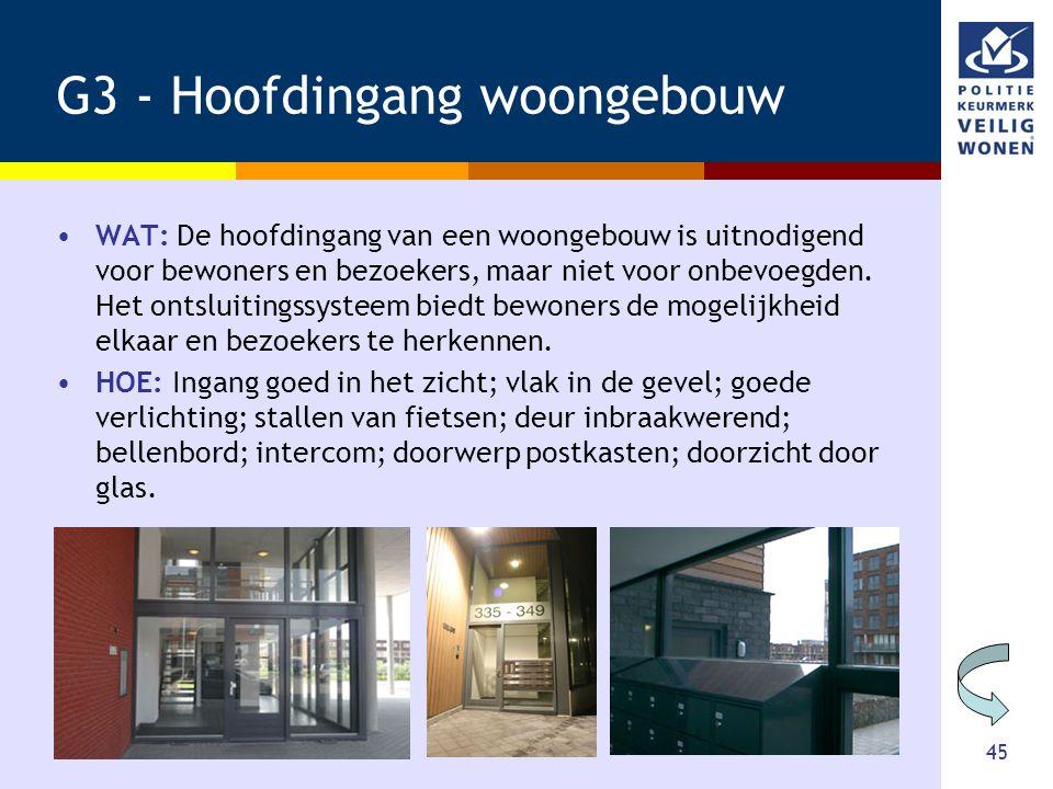 45 G3 - Hoofdingang woongebouw •WAT: De hoofdingang van een woongebouw is uitnodigend voor bewoners en bezoekers, maar niet voor onbevoegden. Het onts