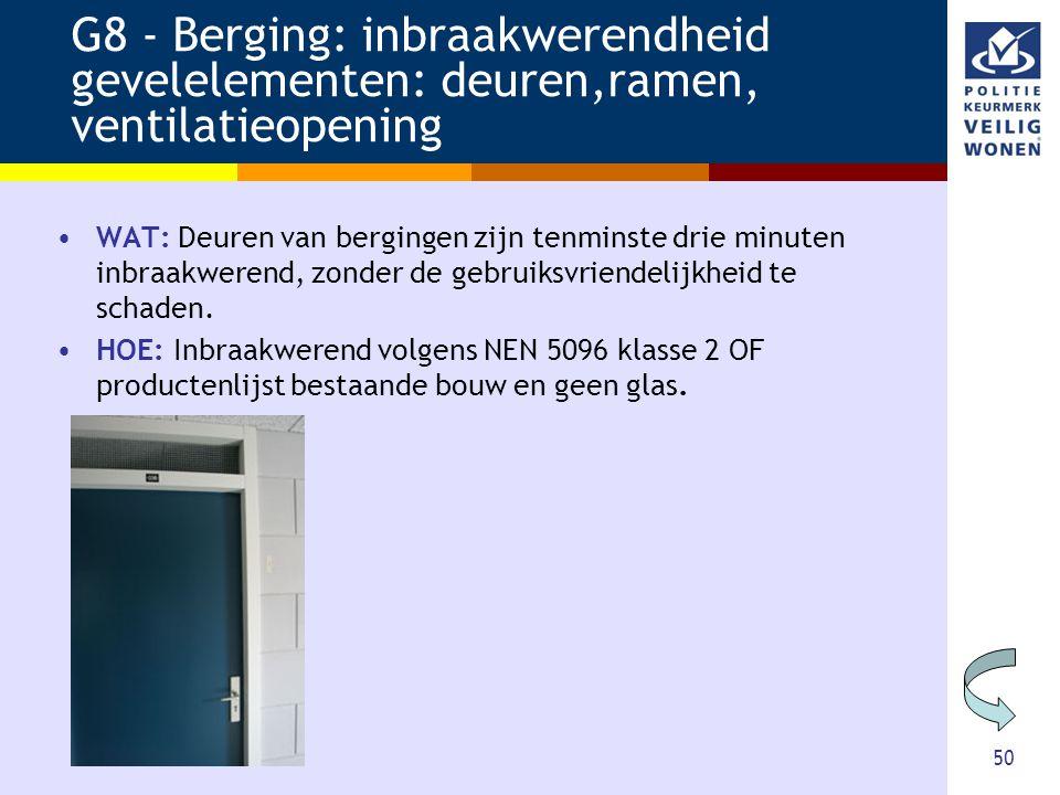 50 G8 - Berging: inbraakwerendheid gevelelementen: deuren,ramen, ventilatieopening •WAT: Deuren van bergingen zijn tenminste drie minuten inbraakweren
